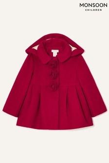 Красное детское свободное пальто с цветочной отделкой Monsoon