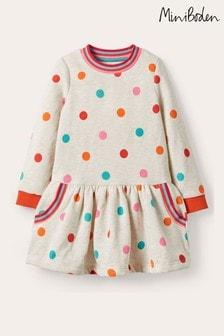 Boden White Cosy Printed Sweatshirt Dress