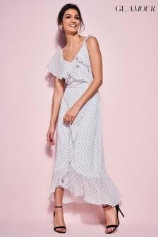 Glamour Polka Dot Ruffle Midi Dress