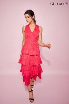 Glamour Pink Jacquard Tiered Midi Dress