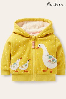 Boden Yellow Shaggy-lined Hoodie