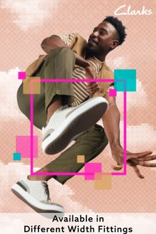 Clarks White Leather CourtLite Lace Trainers