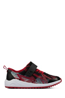 Clarks Aeon Pace Black and Red Lightening School Trainers