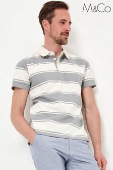 M&Co Men's Stripe Grey Rugby Shirt