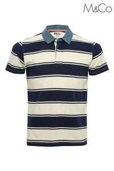 M&Co - Blauw gestreept rugbyshirt voor heren