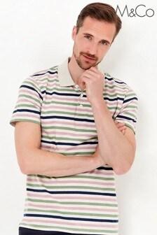 M&Co Men's Multi Stripe Grey Polo Shirt