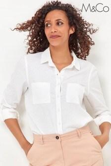 חולצה לבנה שלM&Co מתערובת פשת