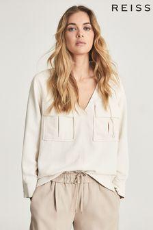 חולצה אוברסייז עם שני כיסים של REISS דגם Fleur בצבע שמנת