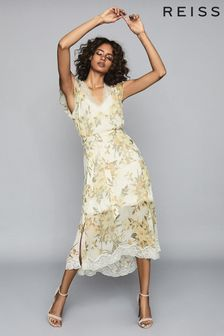 Reiss Emlin Floral Printed Midi Dress