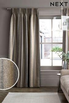 Black/Bronze Metallic Stripe Pencil Pleat Lined Lined Curtains