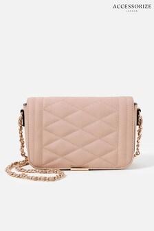 Розовая стеганая сумка на длинном ремешке-цепочке Accessorize Chrissy