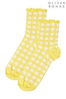 Желтые носки в клетку с рюшами Oliver Bonas