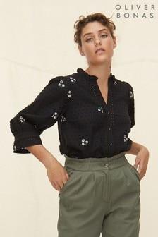 חולצה עם עיטור סולם רקום של Oliver Bonas בצבע שחור