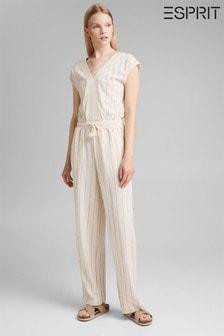 Esprit White Cotton Jumpsuit (A39062) | $76