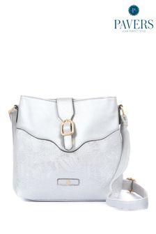 Серебристая женская сумка с длинным ремешком Pavers