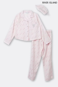 River Island Pink Medium Satin Monogram Pyjama Set