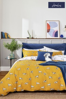 Joules Gold Sketchy Dog Duvet Cover and Pillowcase Set