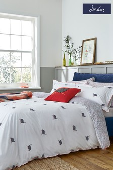 Joules White Guinea Fowl Duvet Cover and Pillowcase Set
