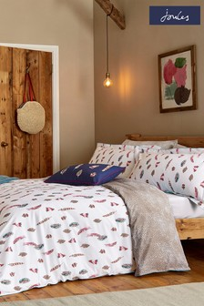 Joules White Feathers Duvet Cover and Pillowcase Set