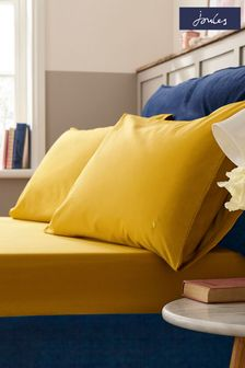 Set of 2 Joules Gold Plain Pillowcases