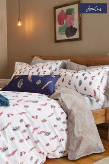 Set of 2 Joules White Feathers Pillowcases