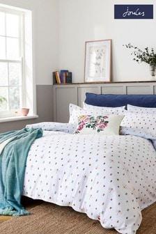 Joules White Botanical Bugs Duvet Cover and Pillowcase Set