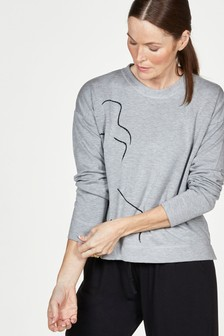 Thought Life Drawing Printed Bamboo Fleece Sweater