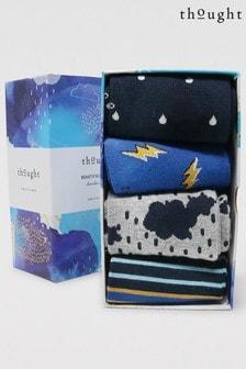 Thought Blue Zoro Stormy Spot 4 Sock Bamboo Organic Cotton Gift Box