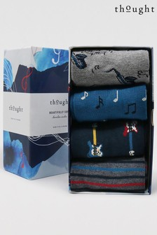 Thought Blue Corie Music 4 Sock Bamboo Organic Cotton Gift Box