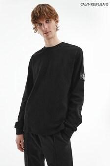 Calvin Klein Jeans Black Long Sleeve Monogram Waffle T-Shirt