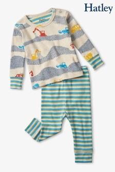 Кремовый пижамный комплект из органического хлопка с принтом стройки (для малышей) Hatley