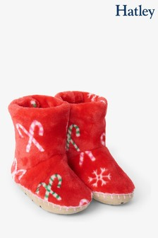 Hatley Red Candy Cane Fleece Slippers