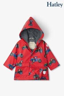 Красный дождевик для малышей с принтом тракторов Hatley