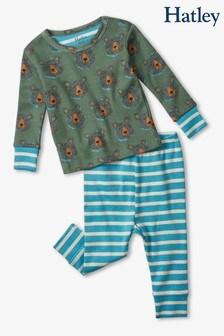 Зеленый/голубой пижамный комплект из органического хлопка с медведями (для малышей) Hatley