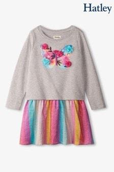 فستان رمادي زهو فراشات معدني بخصر ساقط من Hatley