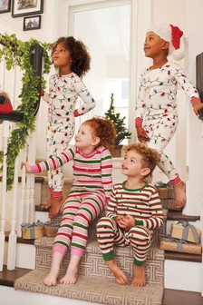 Hatley Cream Glowing Holiday Lights Cotton All-In-One
