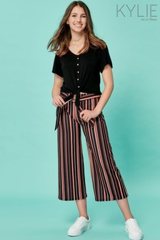 Kylie Black Teen Stripe Culotte Trousers