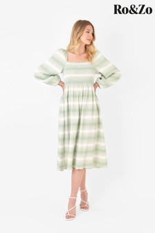 Ro&Zo Green Ombre Shirred Bodice Dress