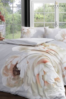 Janet Reger Silver Peony Mist Duvet Cover and Pillowcase Set