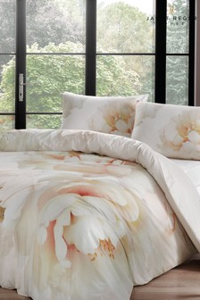 Janet Reger Pink Peony Glow Duvet Cover and Pillowcase Set