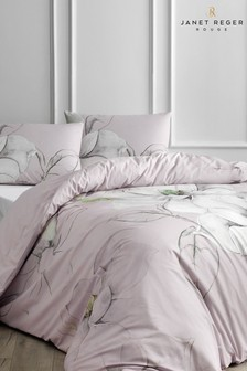 Janet Reger Pink Midnight Magnolia Duvet Cover and Pillowcase Set