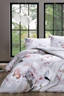 Janet Reger Silver Bouquet Duvet Cover and Pillowcase Set