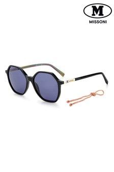 نظارة شمسية بإطار سداسي سوداء من M by Missoni