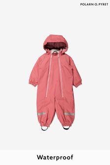 Polarn O Pyret Pink Waterproof Fleece Lined Rainsuit