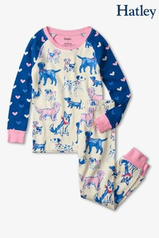 Hatley Cream Pink Pups Cotton Raglan Pyjama Set
