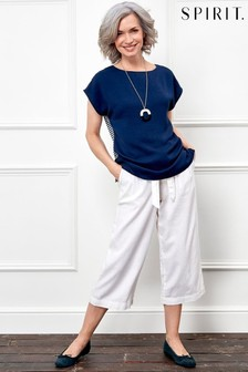Spirit White Cropped Linen Trousers