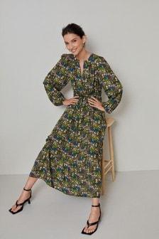 Long Sleeve V-neck Dress (A45307) | $52