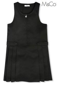 فستان نمط مئزر أسود مدرسي بسحاب بالكامل للبنات من M&Co