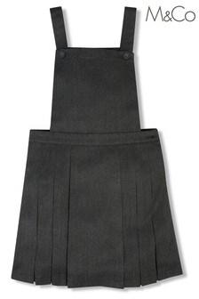 فستان مدرسي نمط مئزر رمادي بطيات للبنات من M&Co