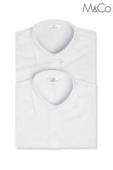 Набор из двух белых школьных рубашек для девочек с рукавами 3/4 M&Co